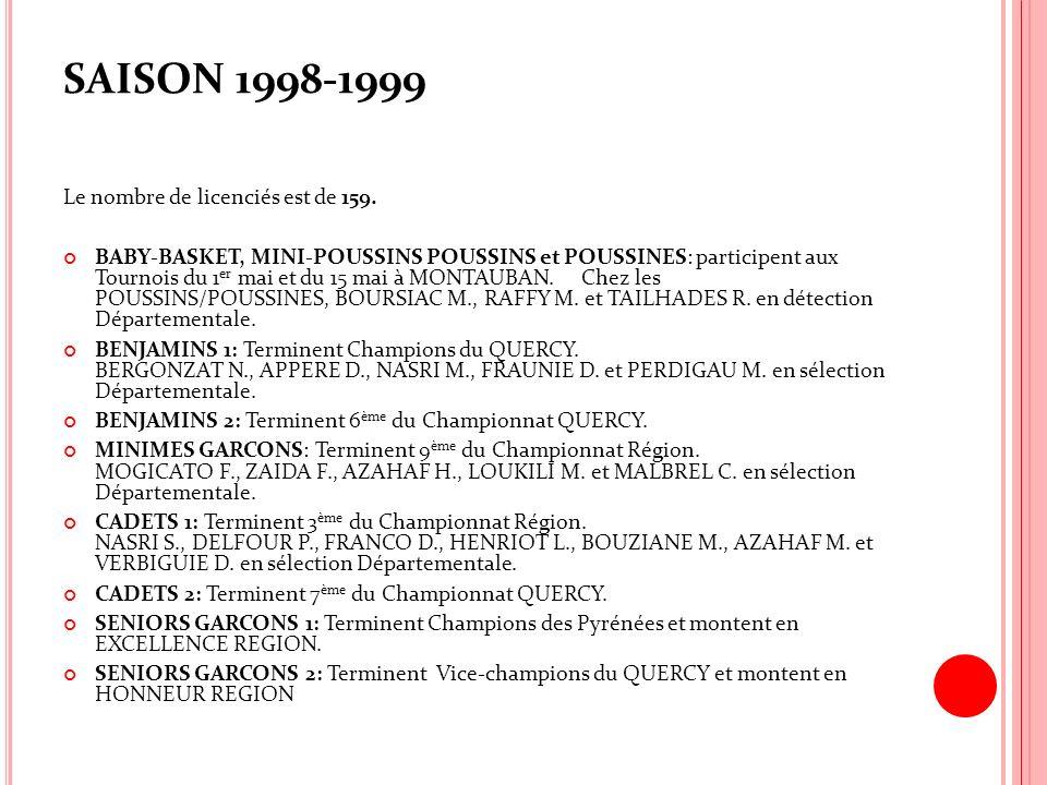 SAISON 1998-1999 Le nombre de licenciés est de 159. BABY-BASKET, MINI-POUSSINS POUSSINS et POUSSINES: participent aux Tournois du 1 er mai et du 15 ma