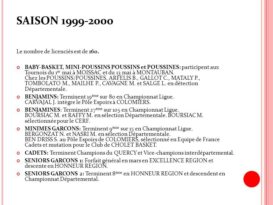 SAISON 1999-2000 Le nombre de licenciés est de 160. BABY-BASKET, MINI-POUSSINS POUSSINS et POUSSINES: participent aux Tournois du 1 er mai à MOISSAC e