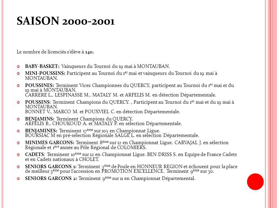 SAISON 2000-2001 Le nombre de licenciés sélève à 140. BABY-BASKET: Vainqueurs du Tournoi du 19 mai à MONTAUBAN. MINI-POUSSINS: Participent au Tournoi