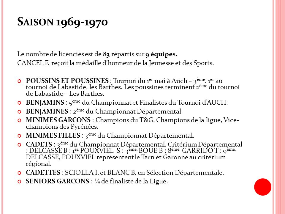 S AISON 1969-1970 Le nombre de licenciés est de 83 répartis sur 9 équipes. CANCEL F. reçoit la médaille dhonneur de la Jeunesse et des Sports. POUSSIN