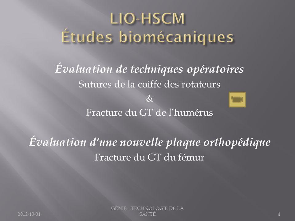 Évaluation de techniques opératoires Sutures de la coiffe des rotateurs & Fracture du GT de lhumérus Évaluation dune nouvelle plaque orthopédique Frac