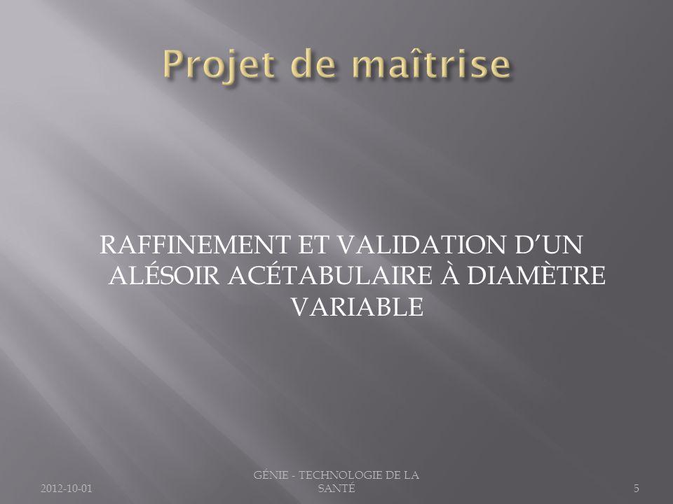RAFFINEMENT ET VALIDATION DUN ALÉSOIR ACÉTABULAIRE À DIAMÈTRE VARIABLE 2012-10-015 GÉNIE - TECHNOLOGIE DE LA SANTÉ