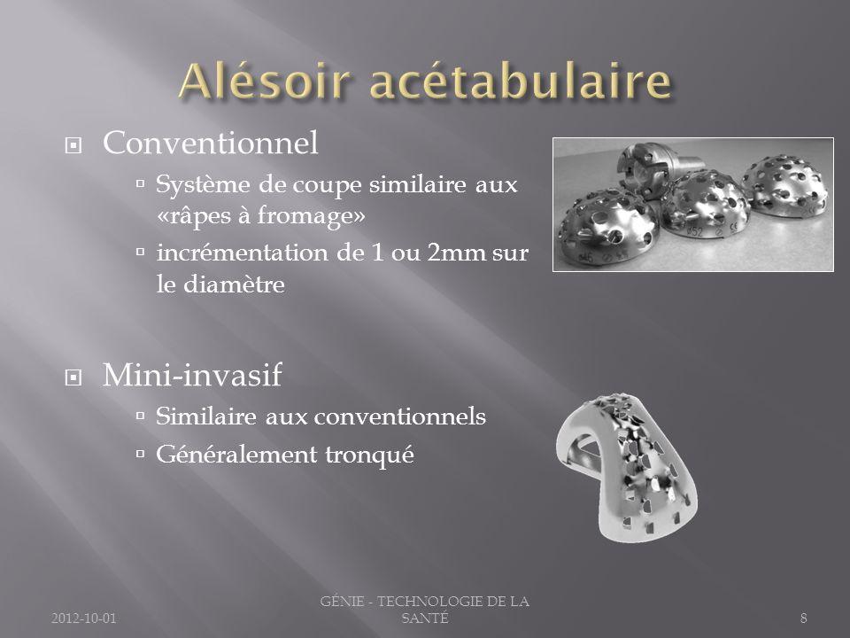 2012-10-018 GÉNIE - TECHNOLOGIE DE LA SANTÉ Conventionnel Système de coupe similaire aux «râpes à fromage» incrémentation de 1 ou 2mm sur le diamètre Mini-invasif Similaire aux conventionnels Généralement tronqué