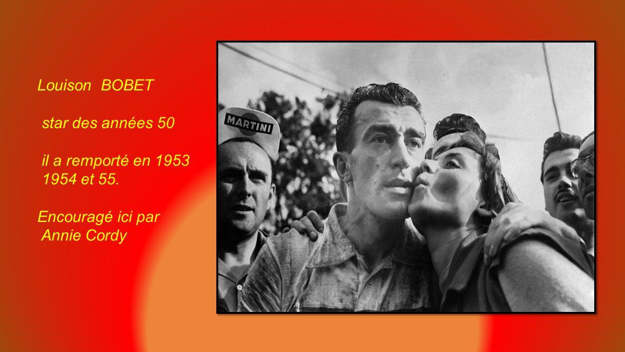 Raphaël GEMINIANI grimpeur, surnommé Le grand Fusil dans les années 50, gagne le classement de la montagne en 51 ici au Tourmalet en 1952