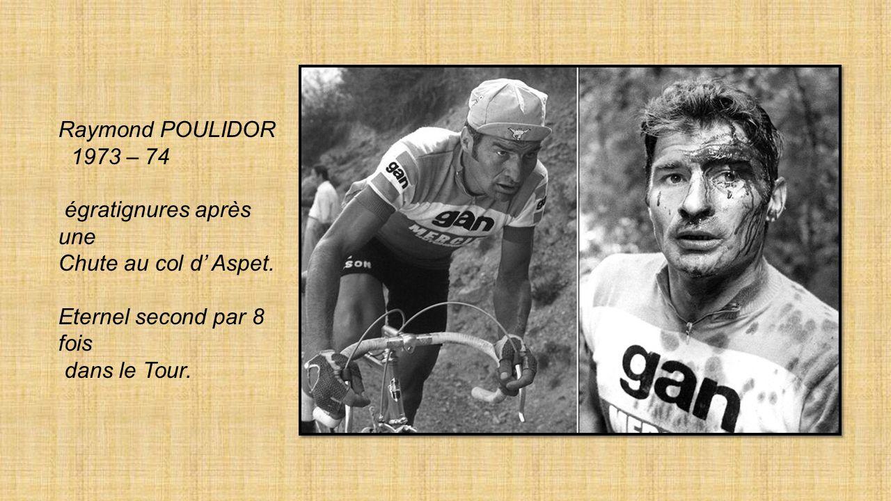 Luis OCANA le rival de Merckx dans les années 70. Ici Abandon après chute en 1971 Il remportera lépreuve en 1973