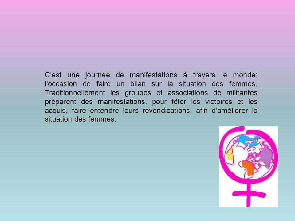 Cest une journée de manifestations à travers le monde: loccasion de faire un bilan sur la situation des femmes. Traditionnellement les groupes et asso