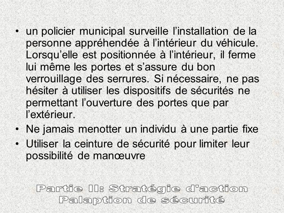 PRINCIPE DE BASE : Avant de faire pénétrer un individu dan un véhicule, il y a lieu : de vérifier quaucun document ou objet ne se trouve dans lhabitac