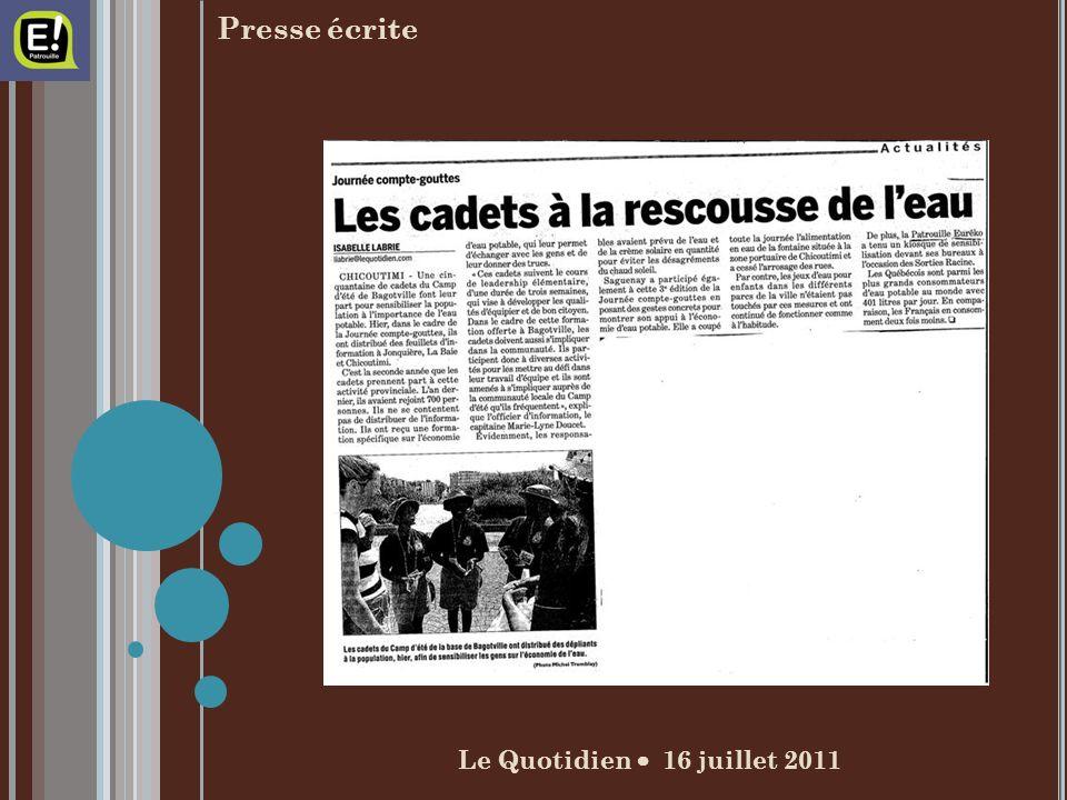 Le Quotidien 16 juillet 2011 Presse écrite