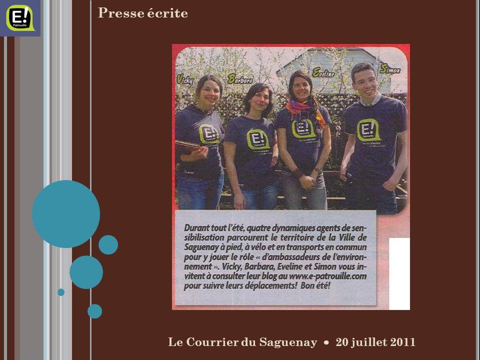 Le Courrier du Saguenay 20 juillet 2011 Presse écrite