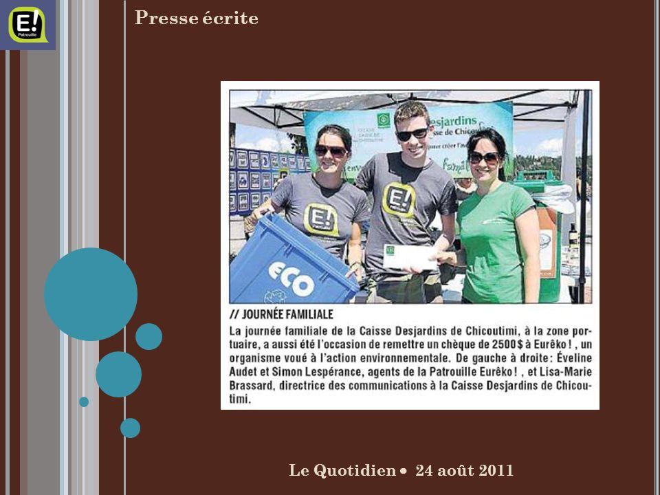 Le Quotidien 24 août 2011 Presse écrite