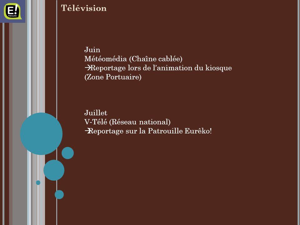Juin Météomédia (Chaîne cablée) Reportage lors de lanimation du kiosque (Zone Portuaire) Juillet V-Télé (Réseau national) Reportage sur la Patrouille Eurêko!