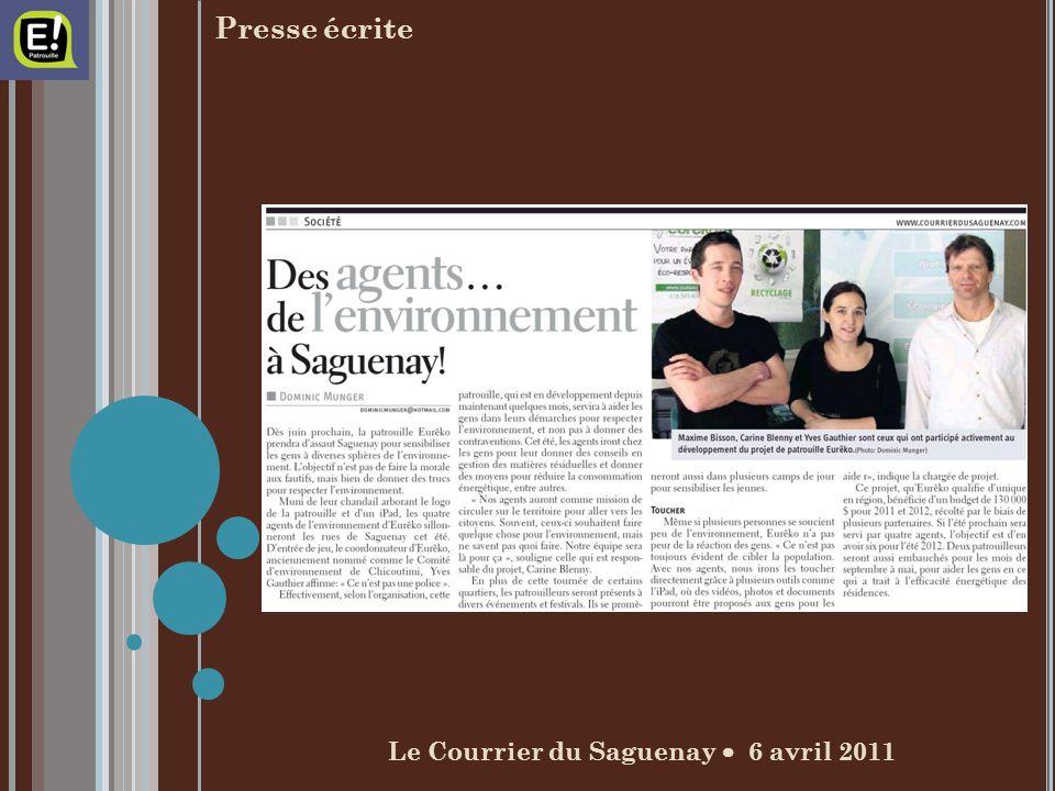 Presse écrite Le Courrier du Saguenay 6 avril 2011