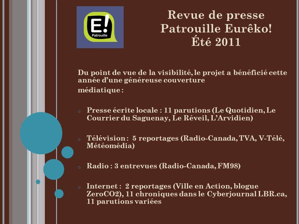 Du point de vue de la visibilité, le projet a bénéficié cette année dune généreuse couverture médiatique : o Presse écrite locale : 11 parutions (Le Quotidien, Le Courrier du Saguenay, Le Réveil, LArvidien) o Télévision : 5 reportages (Radio-Canada, TVA, V-Télé, Météomédia) o Radio : 3 entrevues (Radio-Canada, FM98) o Internet : 2 reportages (Ville en Action, blogue ZeroCO2), 11 chroniques dans le Cyberjournal LBR.ca, 11 parutions variées Revue de presse Patrouille Eurêko.