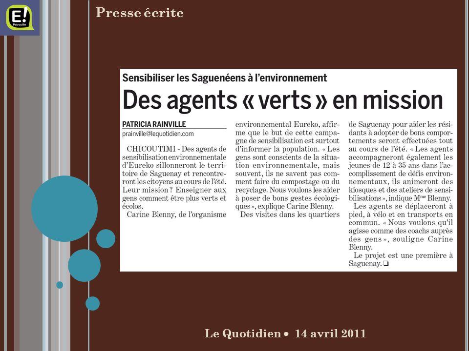 Le Quotidien 14 avril 2011 Presse écrite