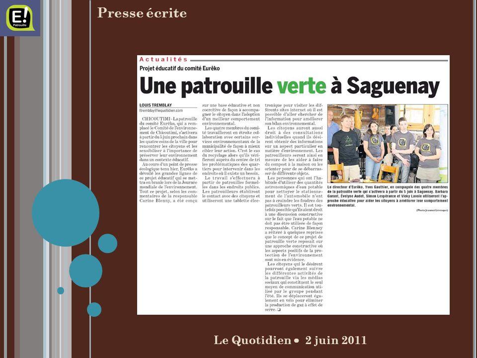 Le Quotidien 2 juin 2011 Presse écrite