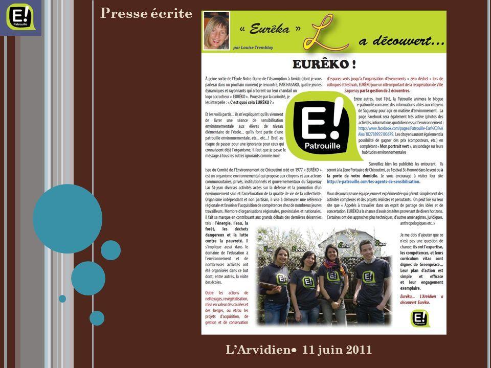 LArvidien 11 juin 2011 Presse écrite