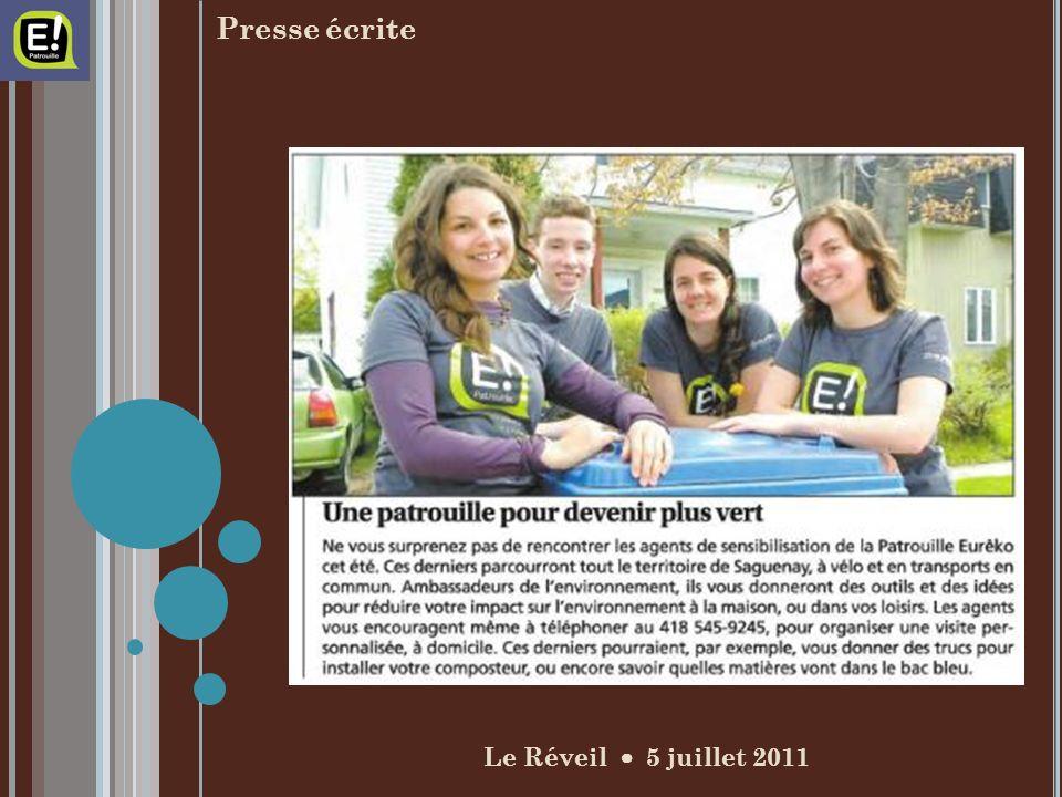 Le Réveil 5 juillet 2011 Presse écrite