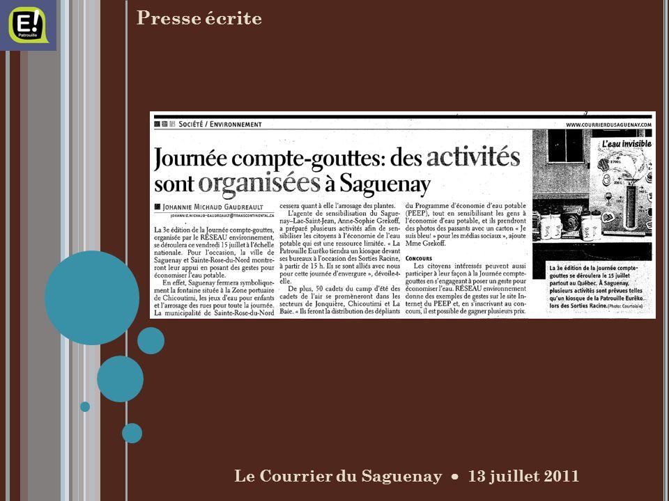 Le Courrier du Saguenay 13 juillet 2011 Presse écrite