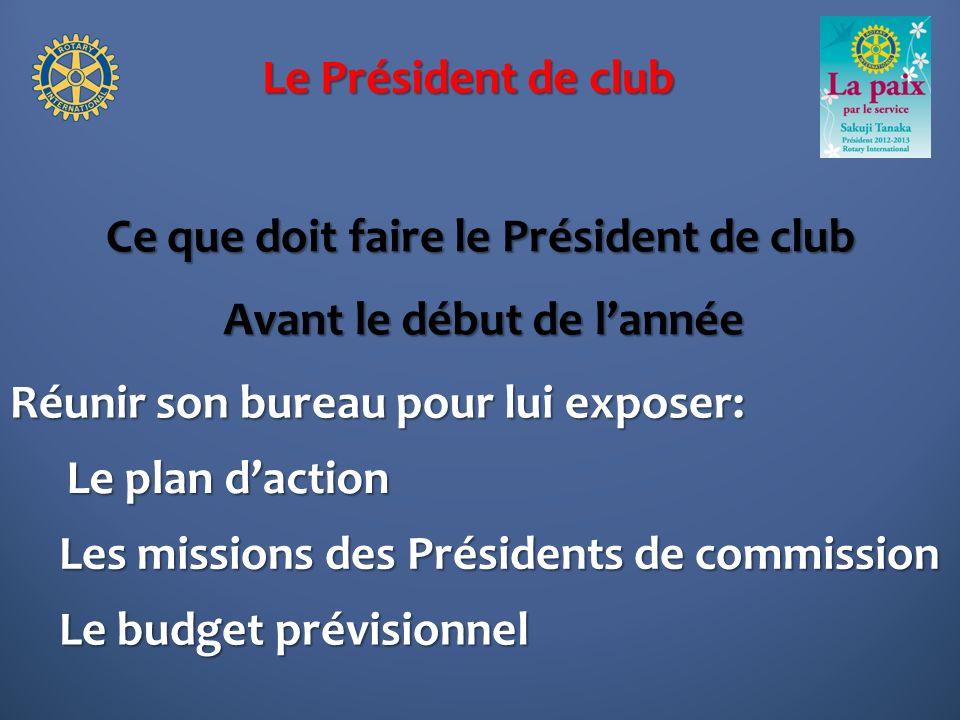 Le Président de club Ce que doit faire le Président de club Réunir son bureau pour lui exposer: Avant le début de lannée Le plan daction Les missions des Présidents de commission Le budget prévisionnel