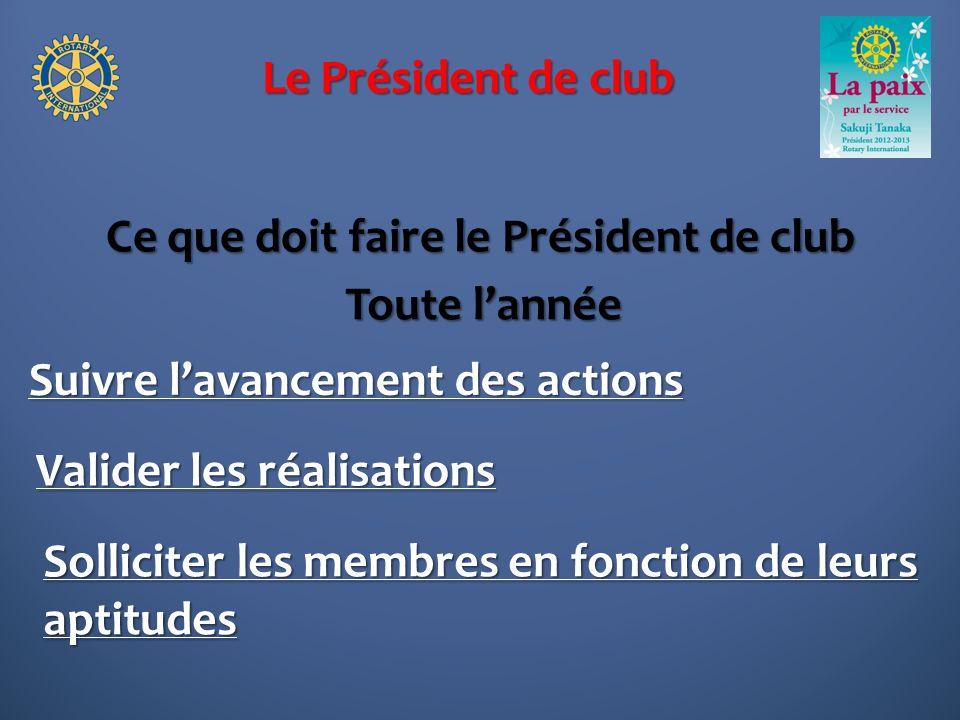 Le Président de club Ce que doit faire le Président de club Suivre lavancement des actions Toute lannée Solliciter les membres en fonction de leurs aptitudes Valider les réalisations