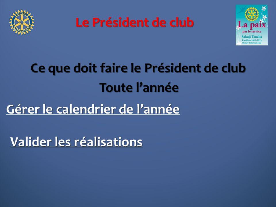 Le Président de club Ce que doit faire le Président de club Gérer le calendrier de lannée Toute lannée Valider les réalisations