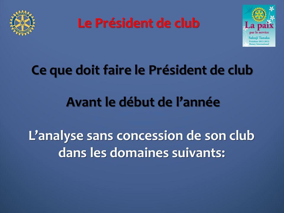 Le Président de club Ce que doit faire le Président de club Lanalyse sans concession de son club dans les domaines suivants: Avant le début de lannée