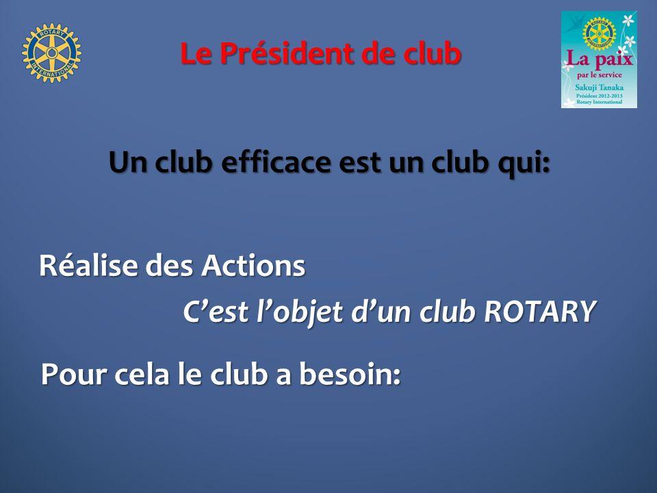 Le Président de club Un club efficace est un club qui: Réalise des Actions Cest lobjet dun club ROTARY Pour cela le club a besoin: