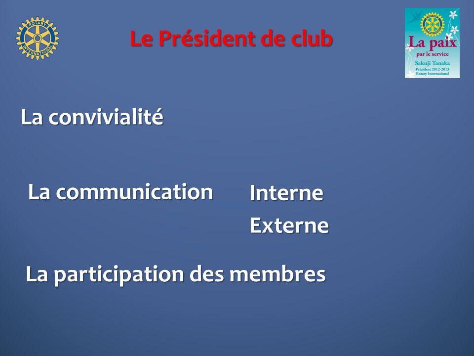 Le Président de club La convivialité La communication Interne Externe La participation des membres