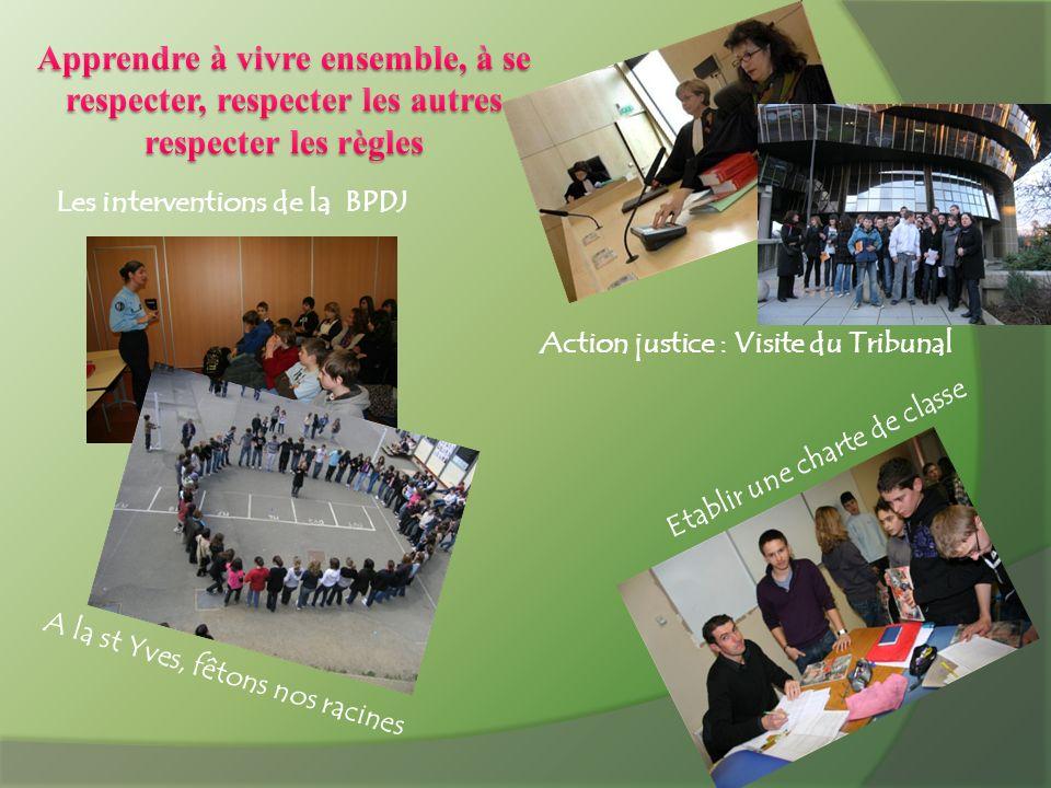 Les interventions de la BPDJ Etablir une charte de classe A la st Yves, fêtons nos racines Action justice : Visite du Tribunal