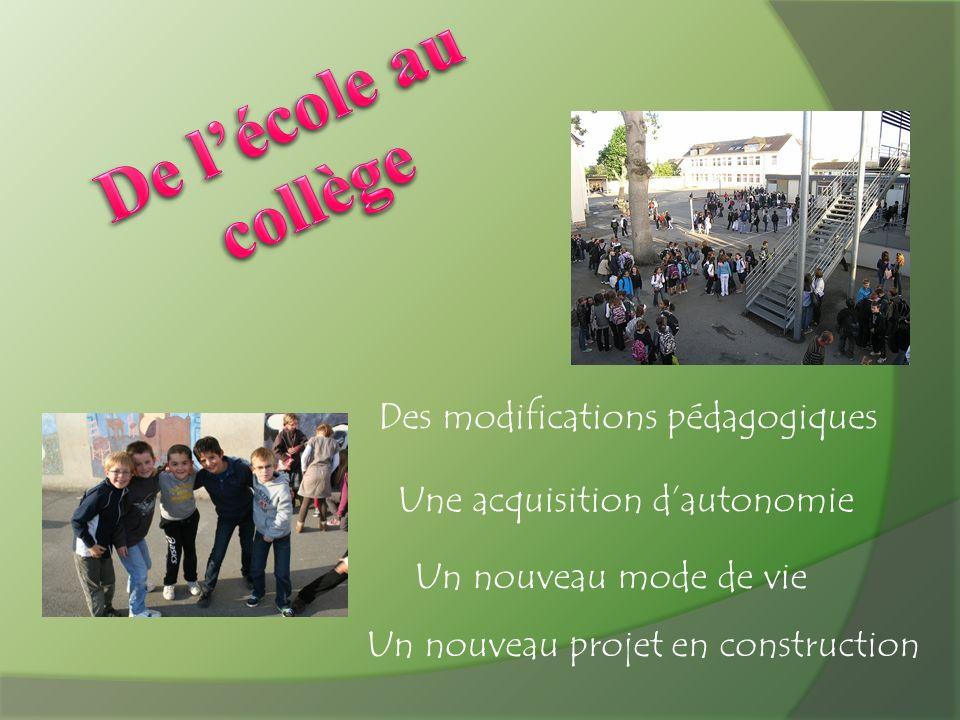 Des modifications pédagogiques Une acquisition dautonomie Un nouveau mode de vie Un nouveau projet en construction