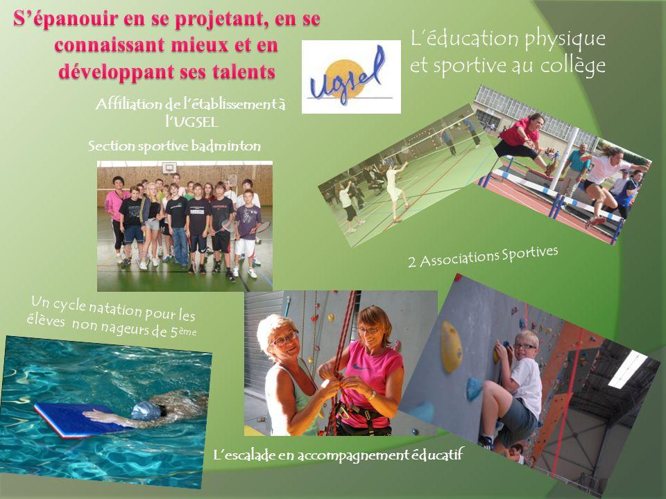 Affiliation de létablissement à lUGSEL Section sportive badminton Lescalade en accompagnement éducatif Léducation physique et sportive au collège 2 As