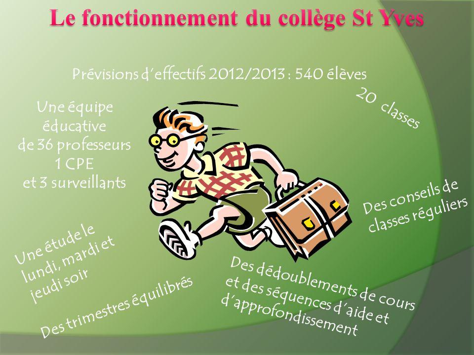 Prévisions deffectifs 2012/2013 : 540 élèves 20 classes Une équipe éducative de 36 professeurs 1 CPE et 3 surveillants Des dédoublements de cours et d
