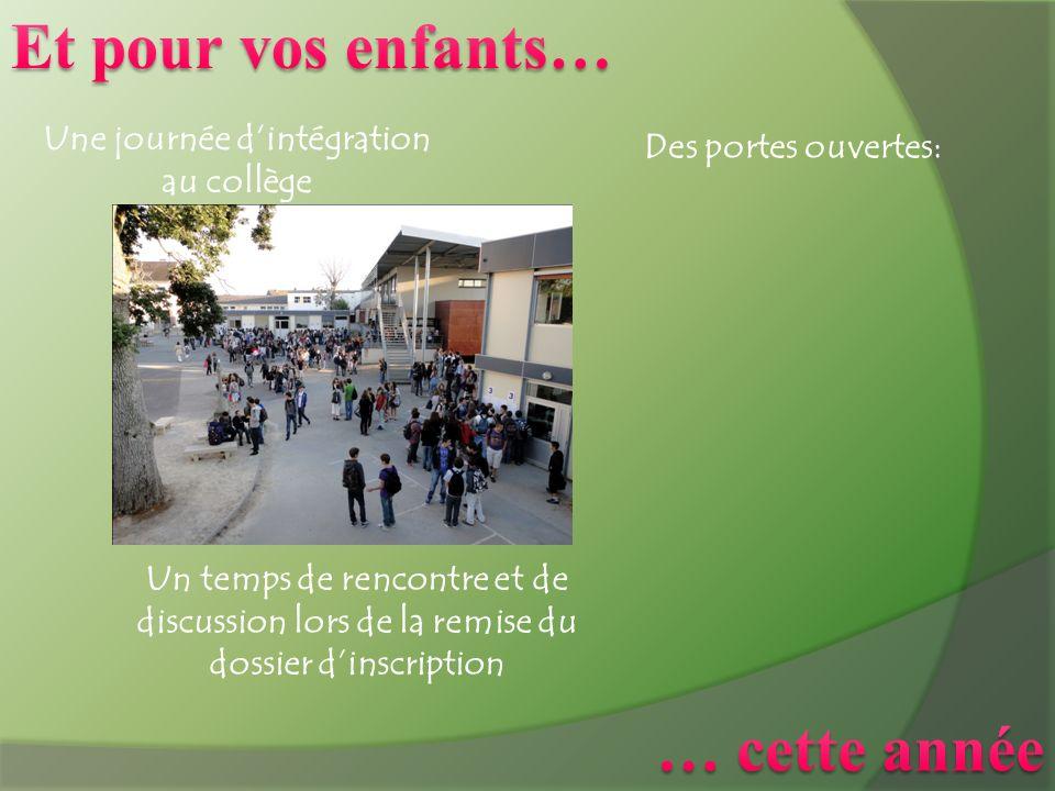 Une journée dintégration au collège Un temps de rencontre et de discussion lors de la remise du dossier dinscription Des portes ouvertes: