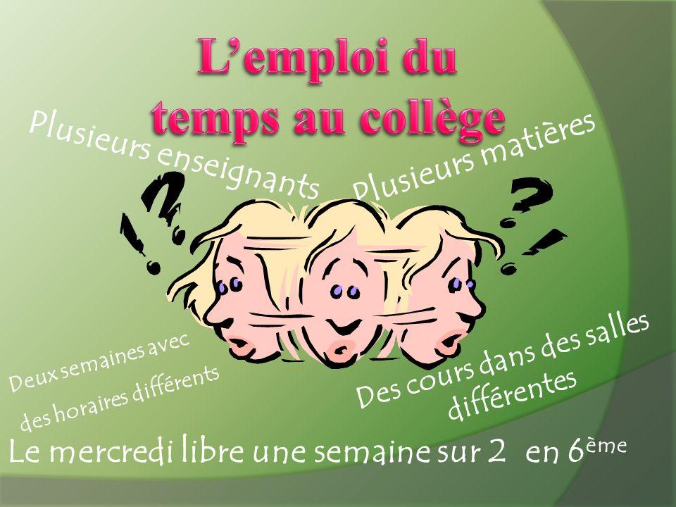Plusieurs enseignants Plusieurs matières Deux semaines avec des horaires différents Le mercredi libre une semaine sur 2 en 6 ème Des cours dans des sa