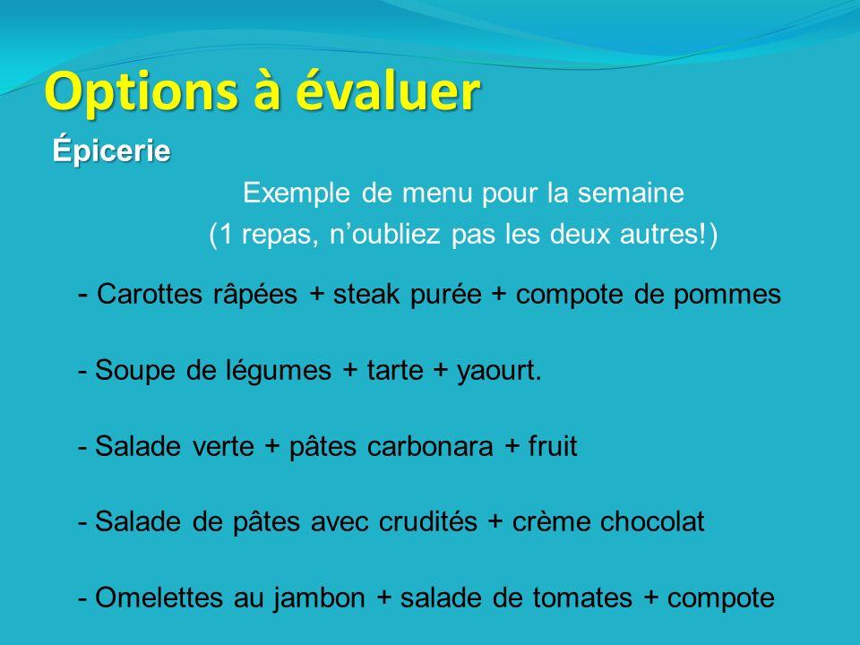 Options à évaluer Épicerie Exemple de menu pour la semaine (1 repas, noubliez pas les deux autres!) - Carottes râpées + steak purée + compote de pommes - Soupe de légumes + tarte + yaourt.