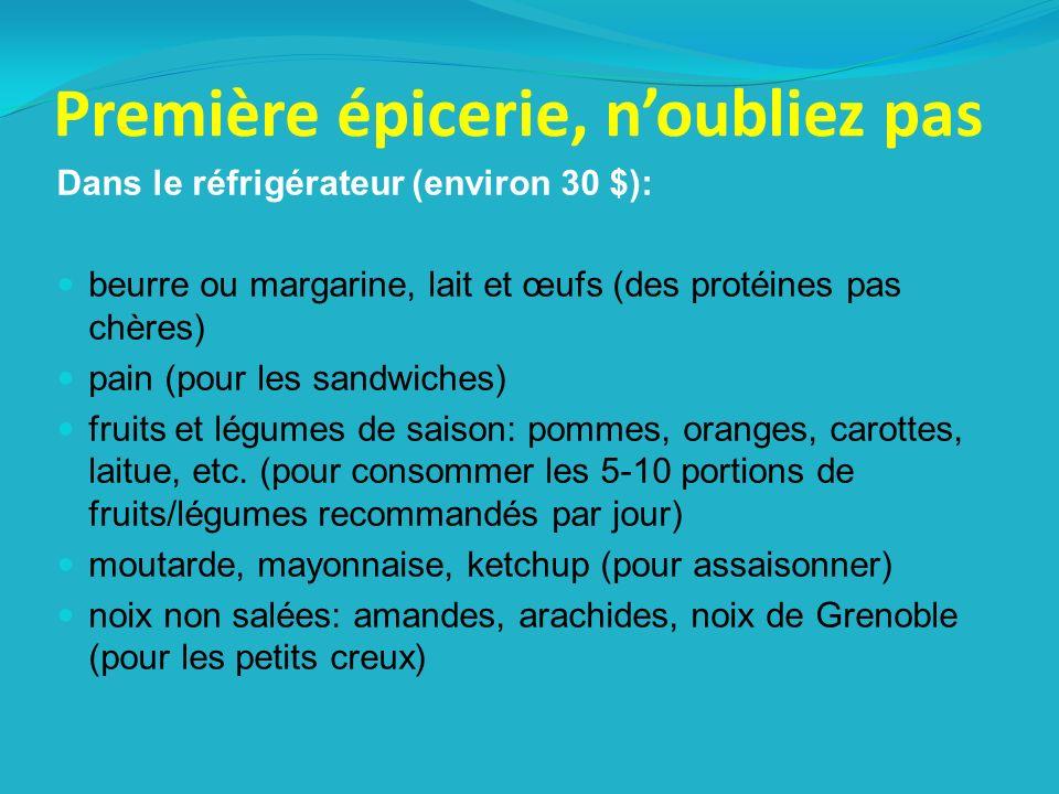 Première épicerie, noubliez pas Dans le réfrigérateur (environ 30 $): beurre ou margarine, lait et œufs (des protéines pas chères) pain (pour les sandwiches) fruits et légumes de saison: pommes, oranges, carottes, laitue, etc.