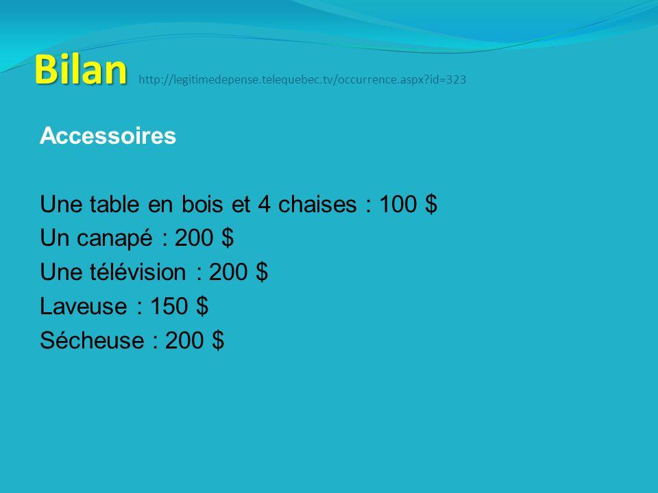 Bilan Bilan http://legitimedepense.telequebec.tv/occurrence.aspx id=323 Accessoires Une table en bois et 4 chaises : 100 $ Un canapé : 200 $ Une télévision : 200 $ Laveuse : 150 $ Sécheuse : 200 $