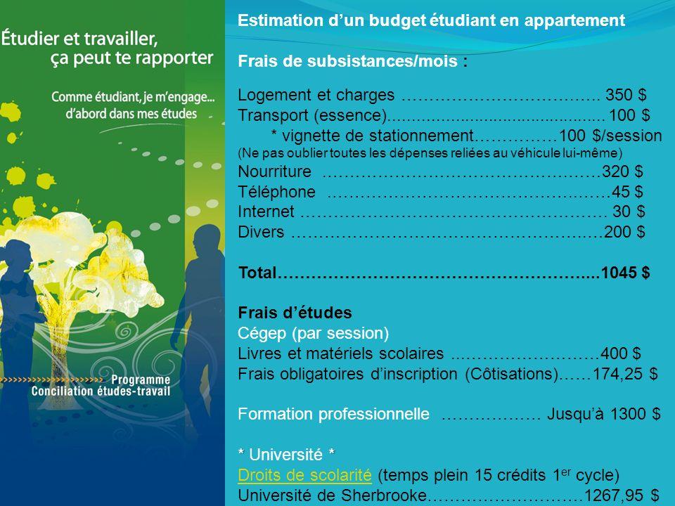 Estimation dun budget étudiant en appartement Frais de subsistances/mois : Logement et charges ………………………….…..