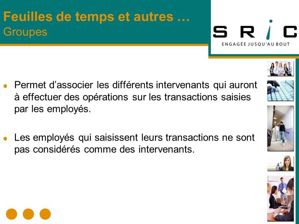 Permet dassocier les différents intervenants qui auront à effectuer des opérations sur les transactions saisies par les employés. Les employés qui sai