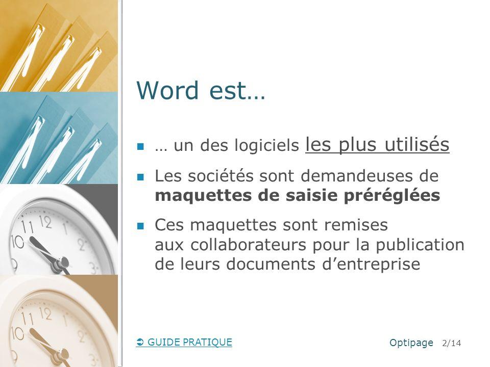 GUIDE PRATIQUE Comment se présente un modèle de document .