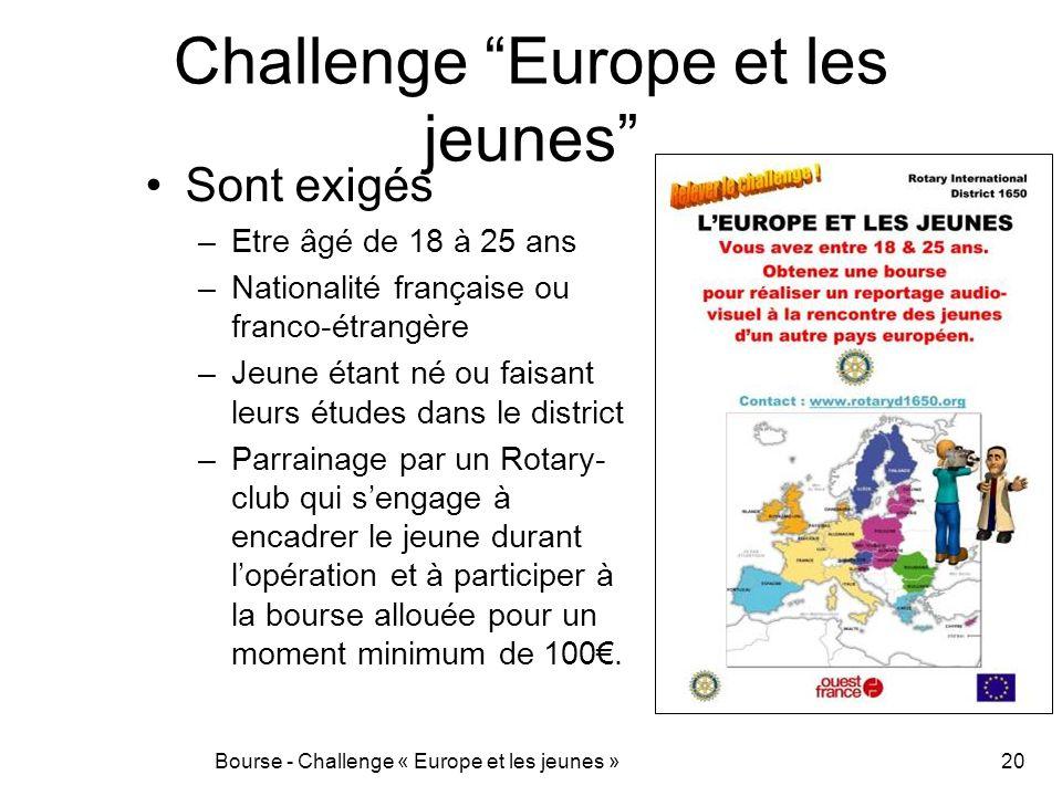 Challenge Europe et les jeunes Sont exigés –Etre âgé de 18 à 25 ans –Nationalité française ou franco-étrangère –Jeune étant né ou faisant leurs études
