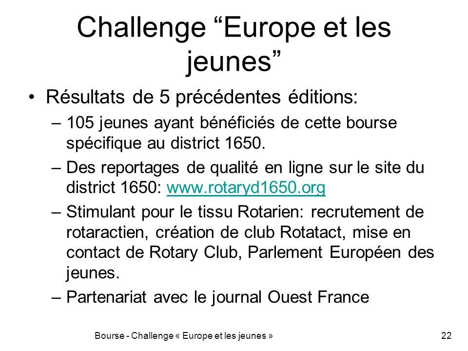 Challenge Europe et les jeunes Résultats de 5 précédentes éditions: –105 jeunes ayant bénéficiés de cette bourse spécifique au district 1650. –Des rep