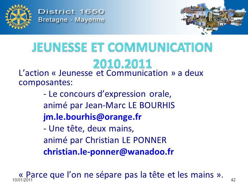 Laction « Jeunesse et Communication » a deux composantes: - Le concours dexpression orale, animé par Jean-Marc LE BOURHIS jm.le.bourhis@orange.fr - Un