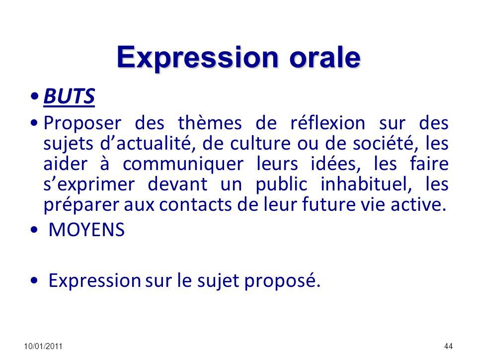 Expression orale BUTS Proposer des thèmes de réflexion sur des sujets dactualité, de culture ou de société, les aider à communiquer leurs idées, les faire sexprimer devant un public inhabituel, les préparer aux contacts de leur future vie active.