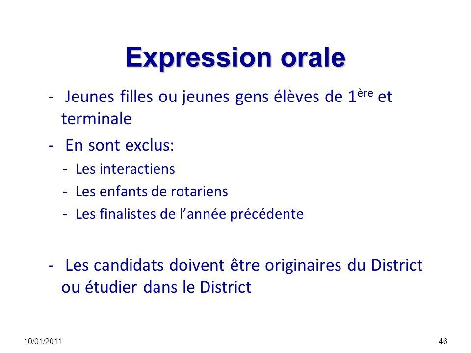 Expression orale - Jeunes filles ou jeunes gens élèves de 1 ère et terminale - En sont exclus: -Les interactiens -Les enfants de rotariens -Les finali