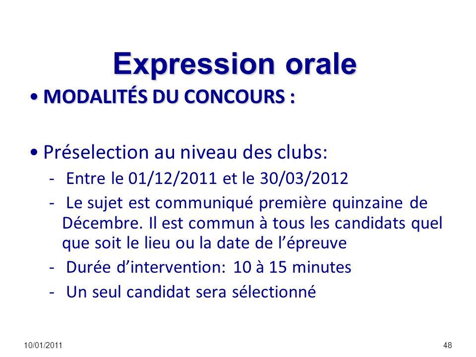 Expression orale MODALITÉS DU CONCOURS :MODALITÉS DU CONCOURS : Préselection au niveau des clubs: - Entre le 01/12/2011 et le 30/03/2012 - Le sujet es