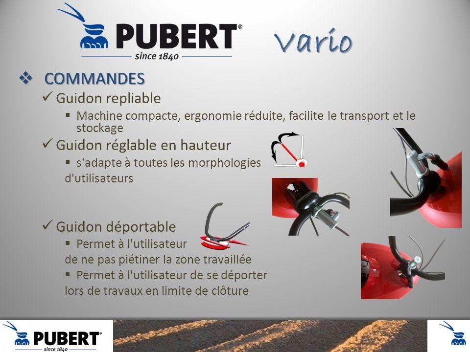COMMANDES COMMANDES Guidon repliable Machine compacte, ergonomie réduite, facilite le transport et le stockage Guidon réglable en hauteur s'adapte à t