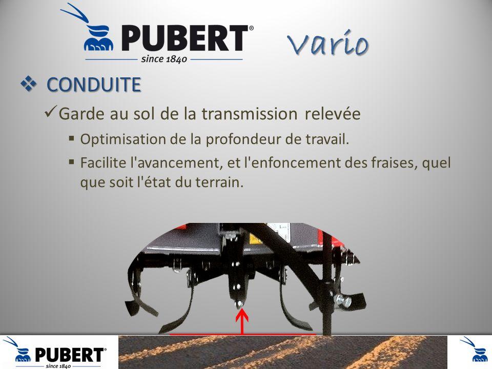 CONDUITE CONDUITE Garde au sol de la transmission relevée Optimisation de la profondeur de travail. Facilite l'avancement, et l'enfoncement des fraise