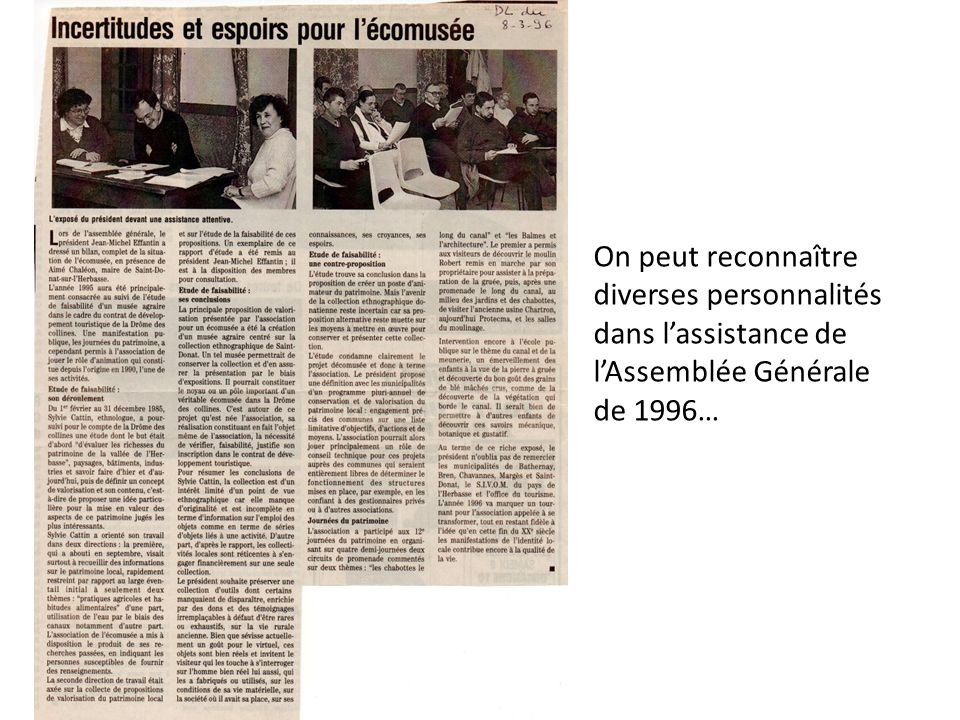 On peut reconnaître diverses personnalités dans lassistance de lAssemblée Générale de 1996…