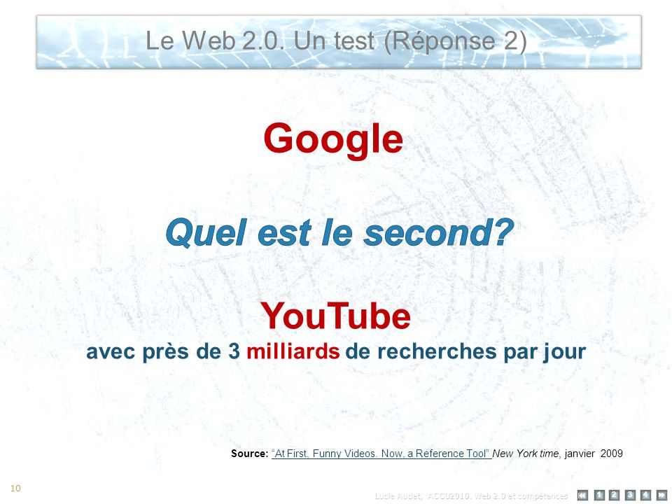 12 34 10 Le Web 2.0. Un test (Réponse 2) Google YouTube avec près de 3 milliards de recherches par jour Source: At First, Funny Videos. Now, a Referen